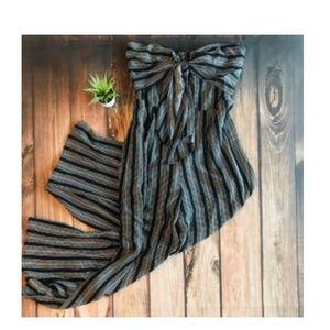Pants - Black striped jumpsuit front tie detail